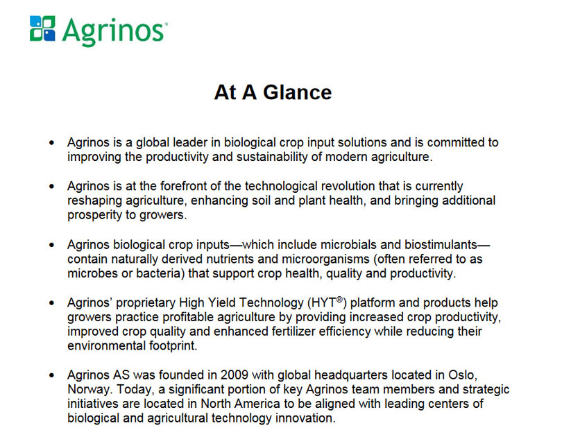 Agrinos At A Glance